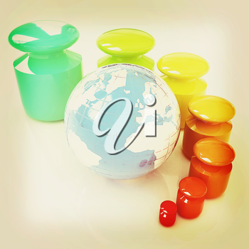 Colorfull weight scale around the Earth on a white background. 3D illustration. Vintage style.