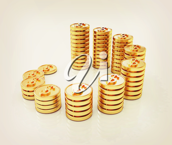 Gold dollar coin stack isolated on white . 3D illustration. Vintage style.