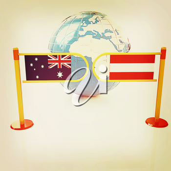 Three-dimensional image of the turnstile and flags of Australia and Austria on a white background . 3D illustration. Vintage style.
