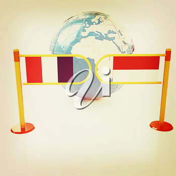 Three-dimensional image of the turnstile and flags of France and Monaco on a white background . 3D illustration. Vintage style.