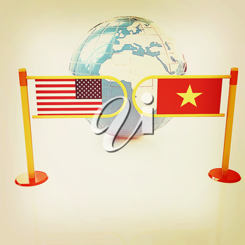 Three-dimensional image of the turnstile and flags of USA and Vietnam on a white background . 3D illustration. Vintage style.