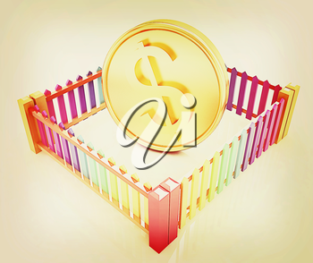 Dollar coin in closed colorfull fence concept illustration on a white background. 3D illustration. Vintage style.