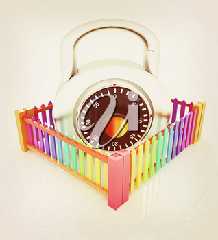 Protection concept.Lock closed colorfull fence on a white background. 3D illustration. Vintage style.