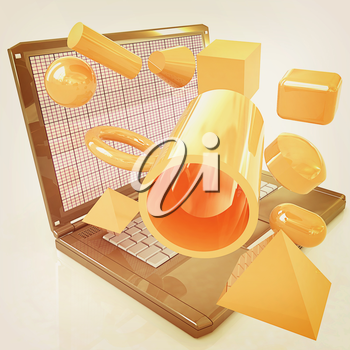 Powerful laptop specially for 3d graphics and software on a white background. 3D illustration. Vintage style.