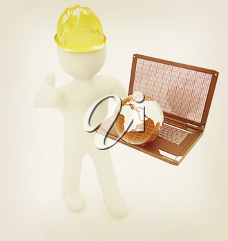 3D small people - an international engineer with the laptop and earth on a white background. 3D illustration. Vintage style.