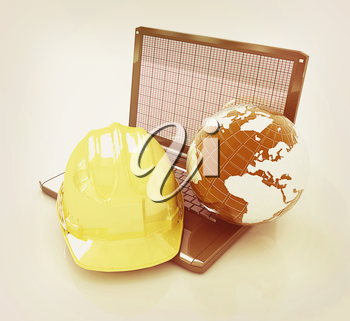 Hard hat and earth on a laptop on a white background. 3D illustration. Vintage style.