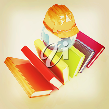Global technical education on a white background. 3D illustration. Vintage style.