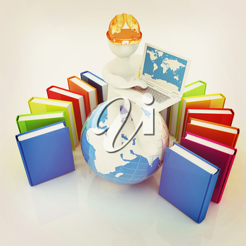 3d man in hard hat sitting on earth and working at his laptop and books around his on a white background. 3D illustration. Vintage style.