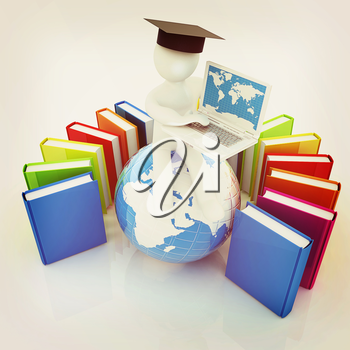 3d man in graduation hat sitting on earth and working at his laptop and books around his on a white background. 3D illustration. Vintage style.