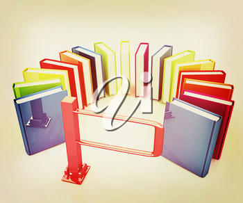 Colorful books in a semicircle and tourniquet to control. The concept of the exam on a white background. 3D illustration. Vintage style.