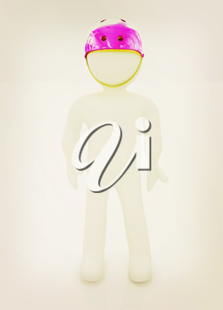3d man in bicycle helmet on a white background. 3D illustration. Vintage style.
