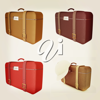 Traveler's suitcase set on a white background. 3D illustration. Vintage style.