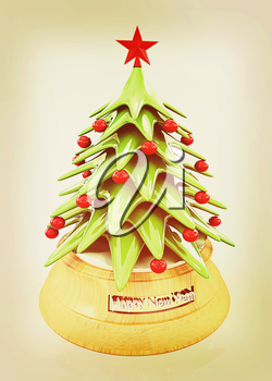 Christmas tree on a white background. 3D illustration. Vintage style.