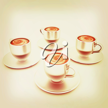 Coffee cups on saucer on a white background. 3D illustration. Vintage style.