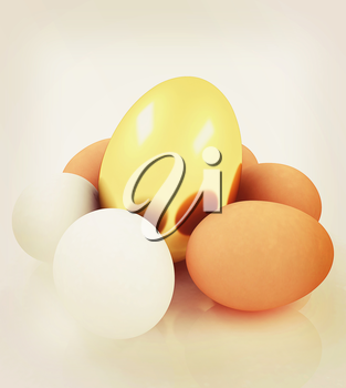 Eggs and gold easter egg. 3D illustration. Vintage style.