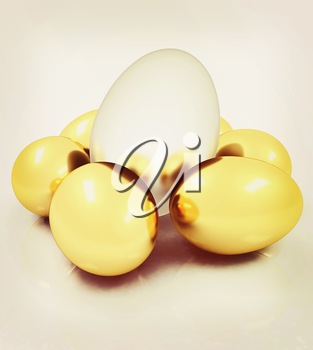 Big egg and gold eggs. 3D illustration. Vintage style.