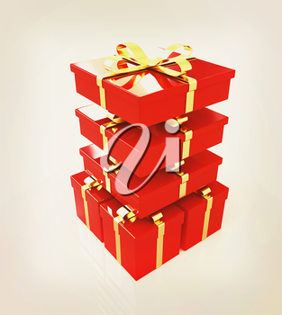Gifts with ribbon on a white background. 3D illustration. Vintage style.