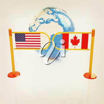 Three-dimensional image of the turnstile and flags of USA and Canada on a white background . 3D illustration. Vintage style.