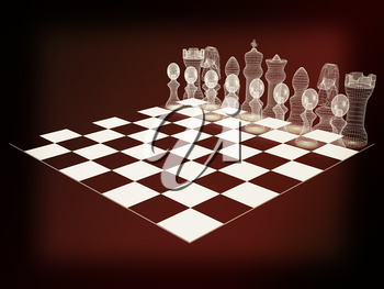 Chessboard with chess pieces. 3D illustration. Vintage style.