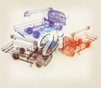 3d model truck and Earth. Global concept. 3D illustration. Vintage style.
