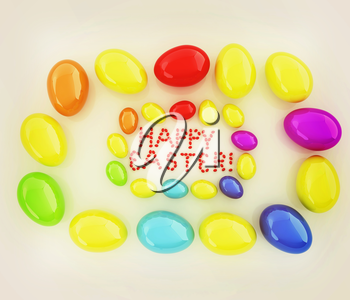 Easter eggs as a Happy Easter greeting on white background. 3D illustration. Vintage style.