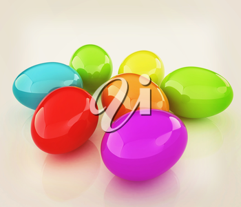 Colored Eggs on a white background. 3D illustration. Vintage style.