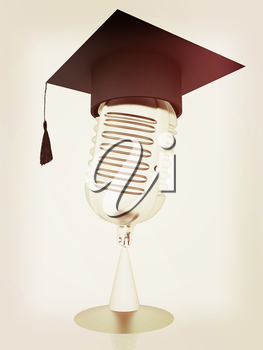 New 3d concept of education with microphone and graduation hat. 3D illustration. Vintage style.