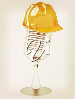 New 3d concept of technology education with microphone and hard hat. 3D illustration. Vintage style.
