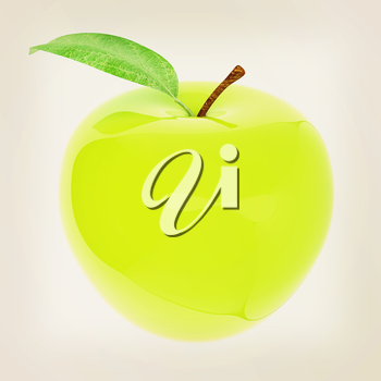 Green apple, isolated on white background . 3D illustration. Vintage style.