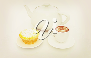 Appetizing pie and cup of coffee on a white background. 3D illustration. Vintage style.