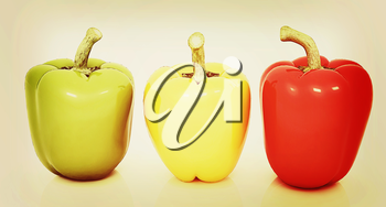 Bell peppers (bulgarian pepper) on a white background. 3D illustration. Vintage style.