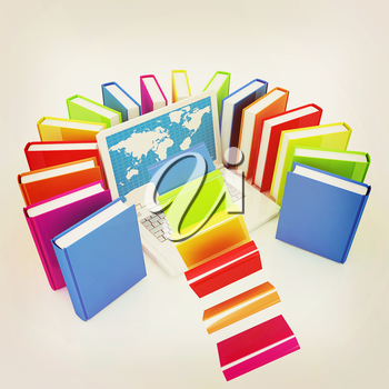 Colorful books flying and laptop on a white background. 3D illustration. Vintage style.