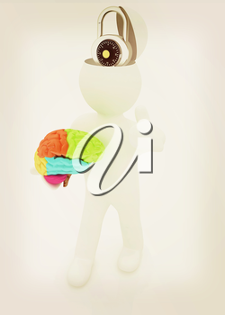 3d people - man with half head, brain and trumb up. The concept of protection with lock. 3D illustration. Vintage style.