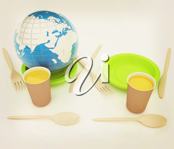 Orange juice in a fast food dishes and earth. 3D illustration. Vintage style.