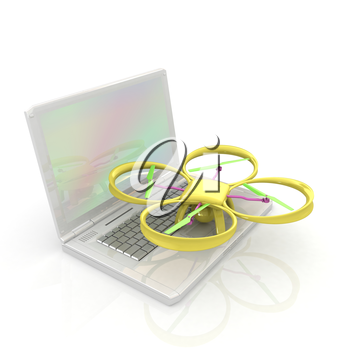 Drone and laptop. 3D render