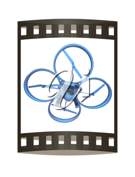 Drone, quadrocopter, with photo camera flying. 3d render. The film strip
