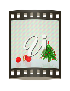 Christmas tree. 3d illustration. The film strip