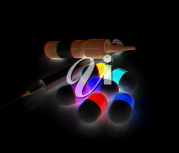 Syringe, tablet, pill jar. 3D illustration. Anaglyph. View with red/cyan glasses to see in 3D.
