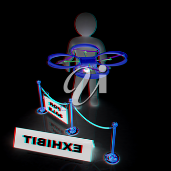 Drone, quadrocopter, with photo camera at the technical exhibition. 3d render. Anaglyph. View with red/cyan glasses to see in 3D.