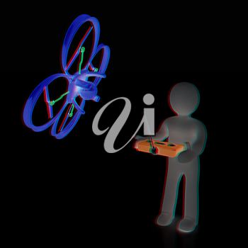 3d man with drone, quadrocopter, with photo camera. 3d render. 3D render. Anaglyph. View with red/cyan glasses to see in 3D.