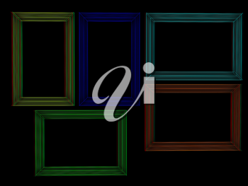 Abstract frames. Conceptual design. 3D illustration. Anaglyph. View with red/cyan glasses to see in 3D.