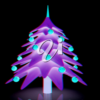 Christmas tree. 3d illustration. Anaglyph. View with red/cyan glasses to see in 3D.