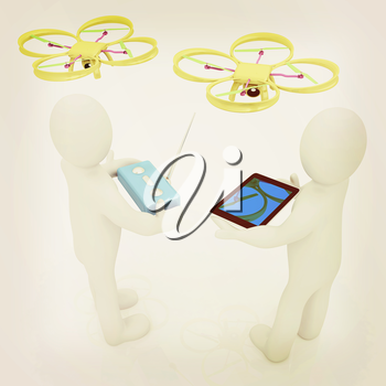 3d white people. Man flying a white drone with camera. 3D render