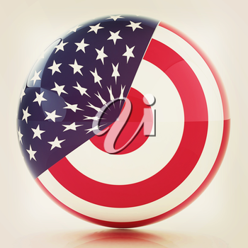 sphere instead letter O textured by USA flag. 3d render