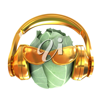 Green cabbage with sun glass and headphones front face on a white background. 3d illustration