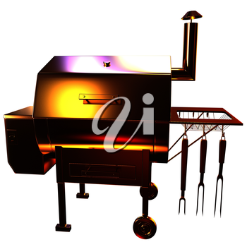 Gold BBQ Grill. 3d illustration
