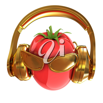 tomato with sun glass and headphones front face on a white background. 3D illustration