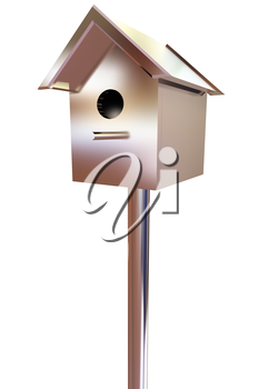birdhouse - a metal souvenir. 3d illustration