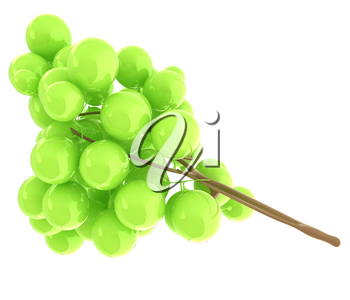 Healthy fruits Green wine grapes isolated white background. Bunch of grapes ready to eat. 3d illustration