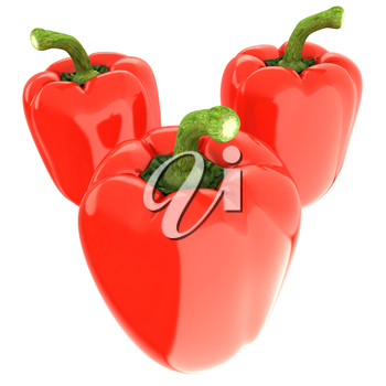 Red bulgarian pepper. 3d illustration